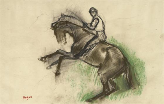 Edgar Degas (1834–1917)  Jockey on a Rearing Horse, 1890s Black chalk and pastel on cream wove paper 9 3/16 x 14 3/16 in. (23.3 x 36 cm) Sterling and Francine Clark Art Institute, [link, http://www.clarkart.edu/] Williamstown, Massachusetts, 1955.1399