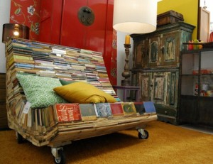 Books recycled book bench, bench of