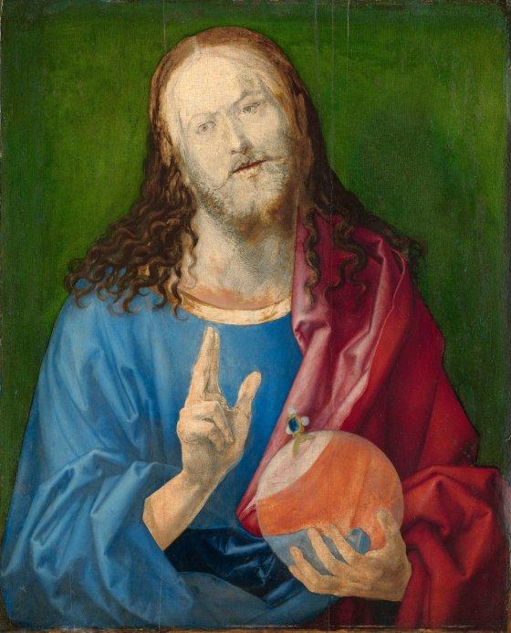 """n Durer's """"Salvator Durer """"Salvator Mundi,""""Christ's face is unfinished. Friedsam Collection"""