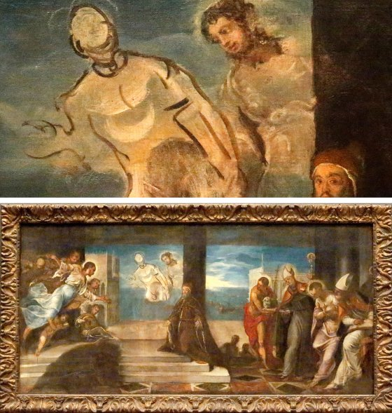 Above, a detail of an unfinished Tintoretto sketch featuring an outlined figure that would be at home in a 20th-century work. Below, the full sketch, which pays homage to a Venetian doge.