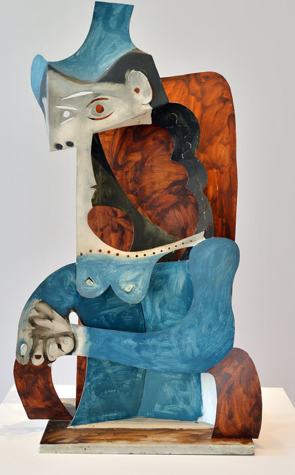 "Picasso's ""Woman With Hat,"" made of painted sheet metal in the early 1960s, is in ""Picasso Sculpture"" at the Museum of Modern Art. Credit 2015 Estate of Pablo Picasso/Artists Rights Society (ARS), New York, Philip Greenberg for The New York Times"