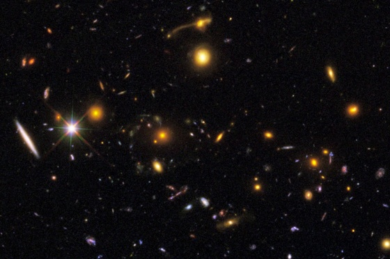 Cosmic rarities, like merging galaxies (top) and gravitational lensing phenomena (middle) can be seen at various points in the image. Image credit: NASA, ESA, R. Windhorst, S. Cohen, M. Mechtley, and M. Rutkowski (Arizona State University, Tempe), R. O'Connell (University of Virginia), P. McCarthy (Carnegie Observatories), N. Hathi (University of California, Riverside), R. Ryan (University of California, Davis), H. Yan (Ohio State University), and A. Koekemoer (Space Telescope Science Institute). Image was cropped and enhanced by E. Siegel, and credits are the same for the rest of the images in this post.