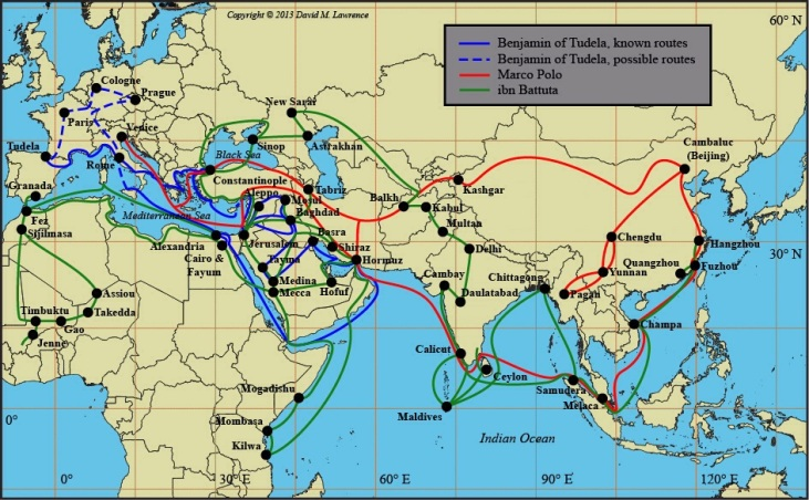 Map- Routes of Benjamin of Tudela, and Marco Polo