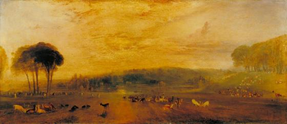 The Lake, Petworth: Sunset, Fighting Bucks c.1829 by Joseph Mallord William Turner 1775-1851